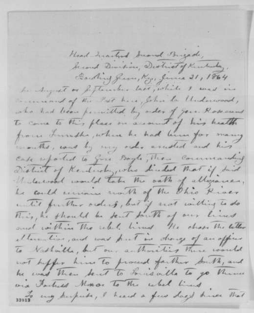 Cicero Maxwell, Tuesday, June 21, 1864  (Statement concerning John C. Underwood)
