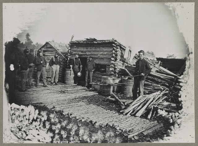 Civil War camp scene, showing company kitchen, 1863(?)