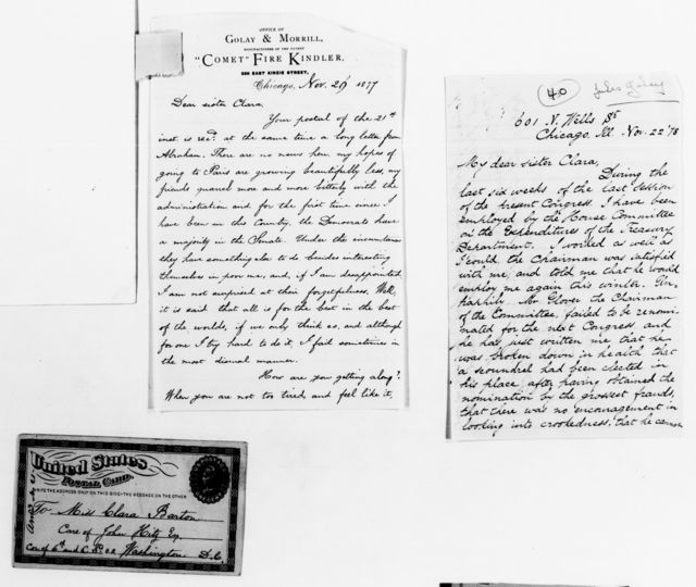Clara Barton Papers: General Correspondence, 1838-1912; Golay, Jules and Harriet B., 1864-1881