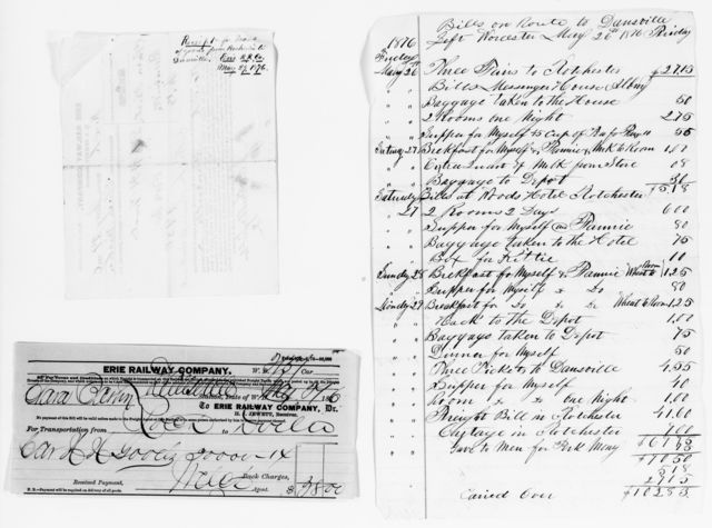 Clara Barton Papers: Miscellany, 1856-1957; Financial and legal papers; Bills and receipts; 1864, July-1876, May