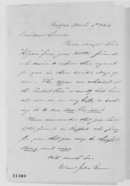 Clara Brown and Julia Brown to Abraham Lincoln, Wednesday, March 09, 1864  (Send afghan)