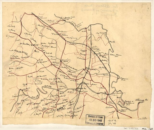 Col. William Allen's map of the vicinity of Hanover Junction.
