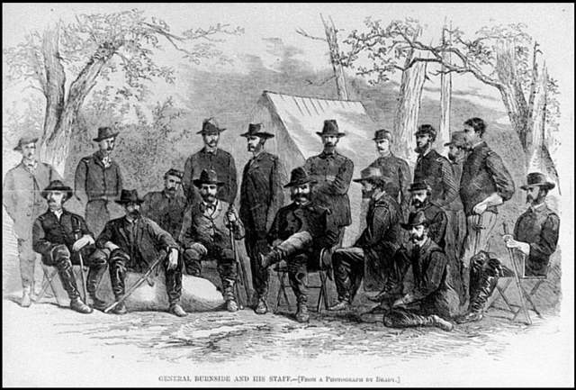 [Cold Harbor, Va. Gen. Burnside and his staff at 9th Corps headquarters] / from a photograph by Brady.