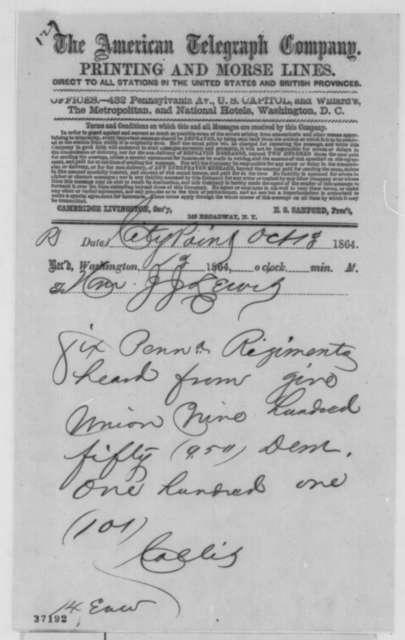 Collis to Joseph J. Lewis, Thursday, October 13, 1864  (Telegram concerning Penn. soldier vote)