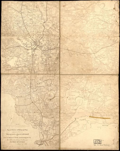Copy of section of photograph map captured from the enemy, showing country adjacent to Richmond and lines of defensive works surrounding the city. /