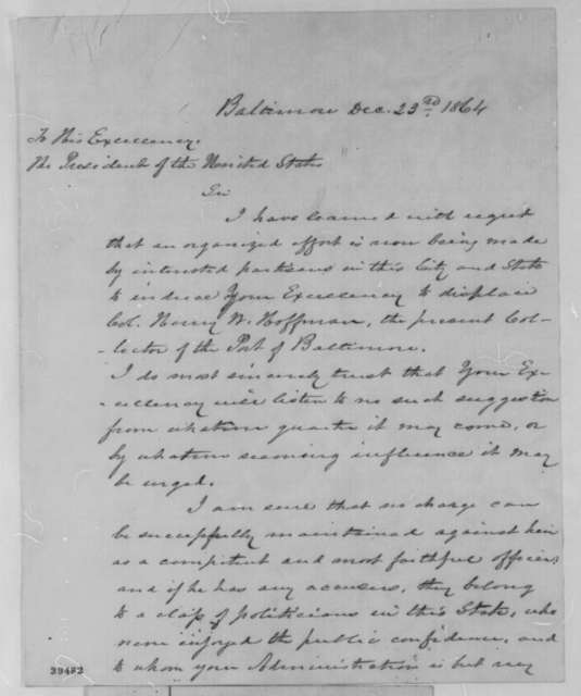 Cornelius L. L. Leary to Abraham Lincoln, Friday, December 23, 1864  (Writes on behalf of Henry W. Hoffman)