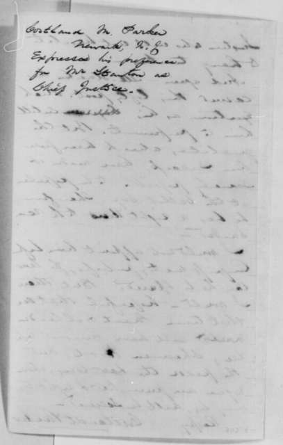 Cortlandt Parker to Abraham Lincoln, Tuesday, October 25, 1864  (Recommends Edwin Stanton for Chief Justice)