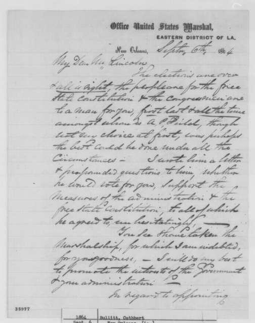 Cuthbert Bullitt to Abraham Lincoln, Tuesday, September 06, 1864  (Political affairs in Louisiana)