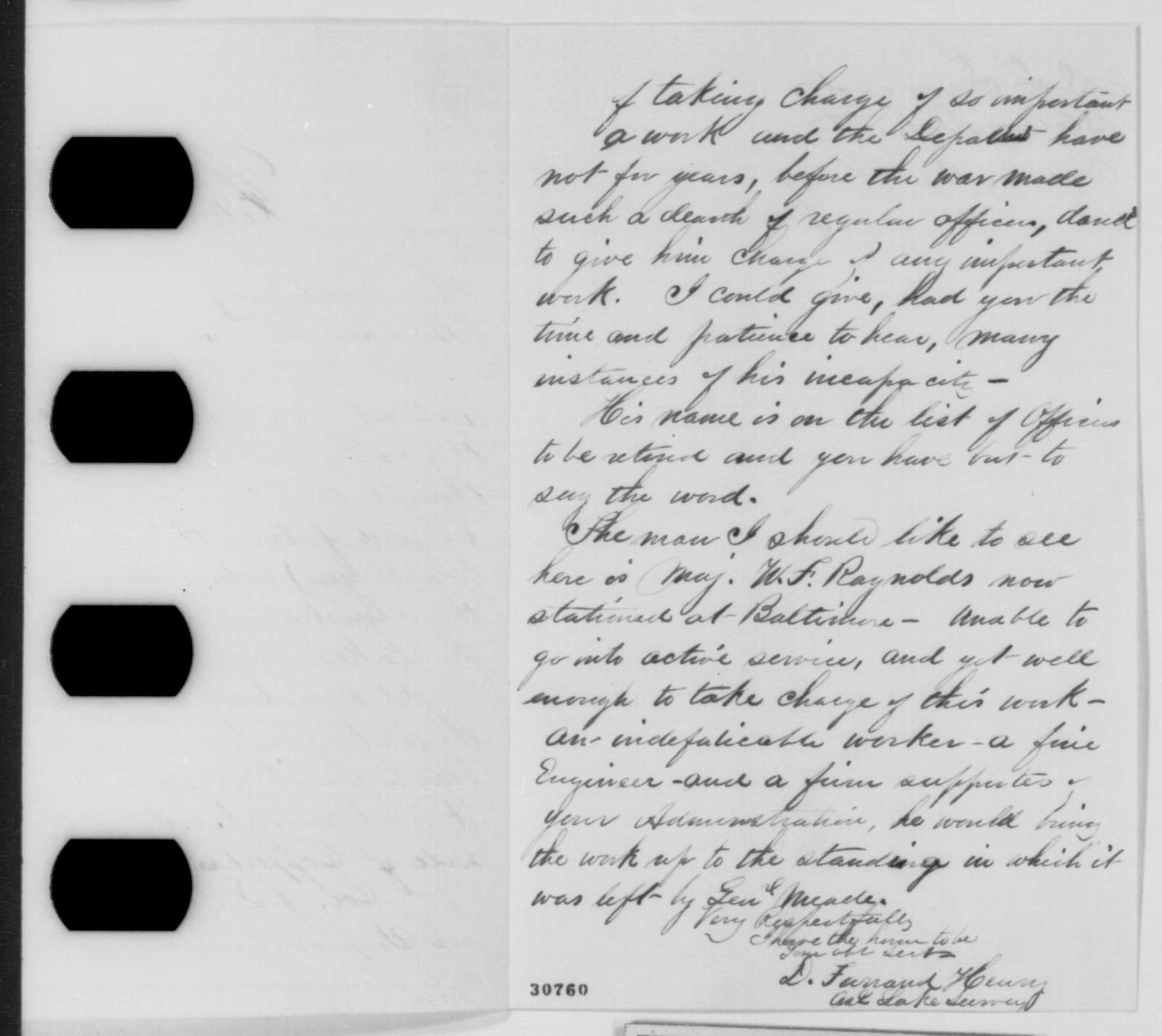 D. Farrand Henry to Abraham Lincoln, Monday, February 22, 1864  (Survey of Great Lakes)
