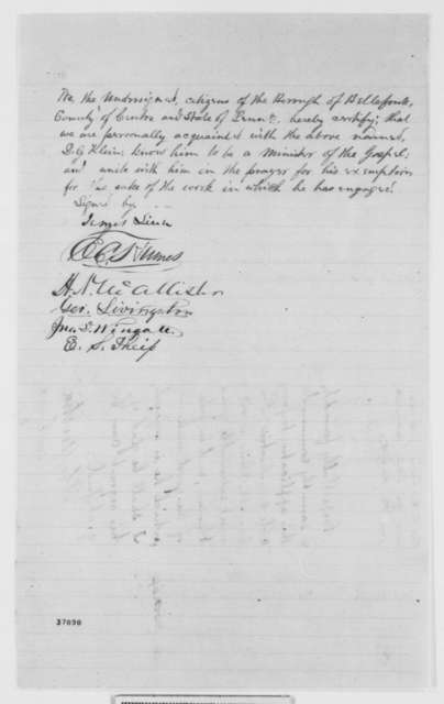 D. G. Klein to Abraham Lincoln and Edwin M. Stanton, Monday, October 10, 1864  (Requests exemption from the draft; endorsed by Andrew G. Curtin, John Hay, et al.)
