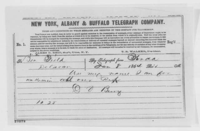 D. V. Berry to Benjamin Field, Friday, January 08, 1864  (Telegram concerning political affairs)