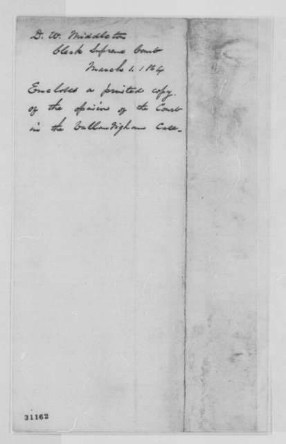 D. W. Middleton to Abraham Lincoln, Tuesday, March 01, 1864  (Cover letter)