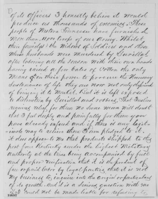 Daniel Arter to William W. Orme, Wednesday, December 07, 1864  (Cotton trade at Cairo, Illinois)