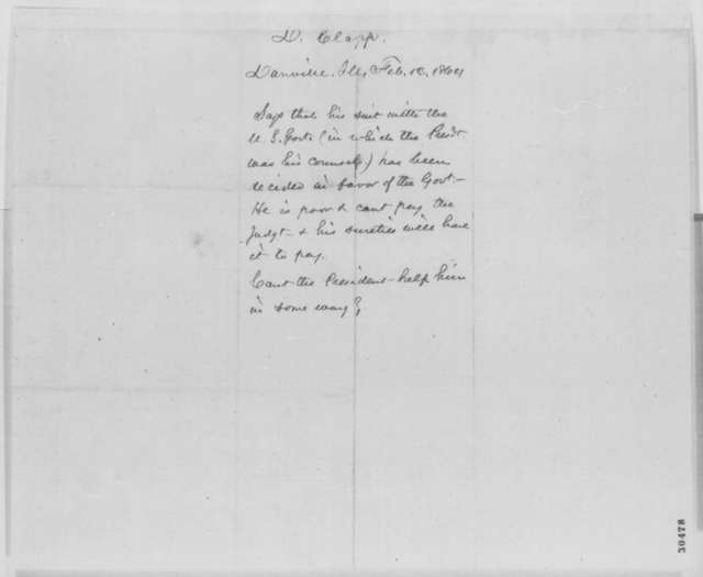 Daniel Clapp to Abraham Lincoln, Friday, February 12, 1864  (Legal business)