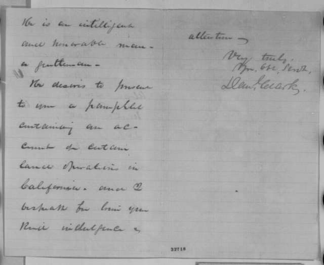 Daniel Clark to Abraham Lincoln, Saturday, April 30, 1864  (Introduction)