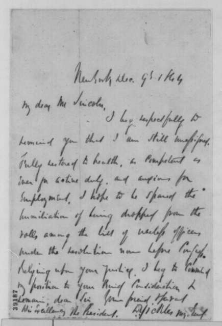 Daniel E. Sickles to Abraham Lincoln, Friday, December 09, 1864  (Seeks military command)