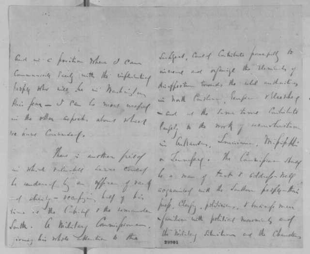 Daniel E. Sickles to Abraham Lincoln, Wednesday, January 27, 1864  (Wants to go on mission to the South)