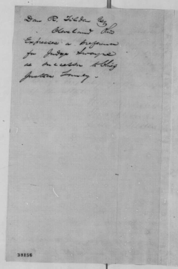 Daniel R. Tilden to Abraham Lincoln, Thursday, November 10, 1864  (Recommends Noah Swayne for Chief Justice)