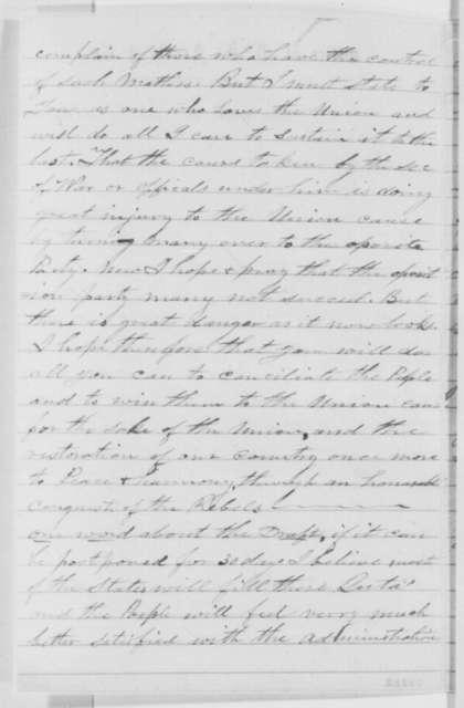 Daniel S. Arnold to Abraham Lincoln, Thursday, September 01, 1864  (Prisoner at Rock Island)