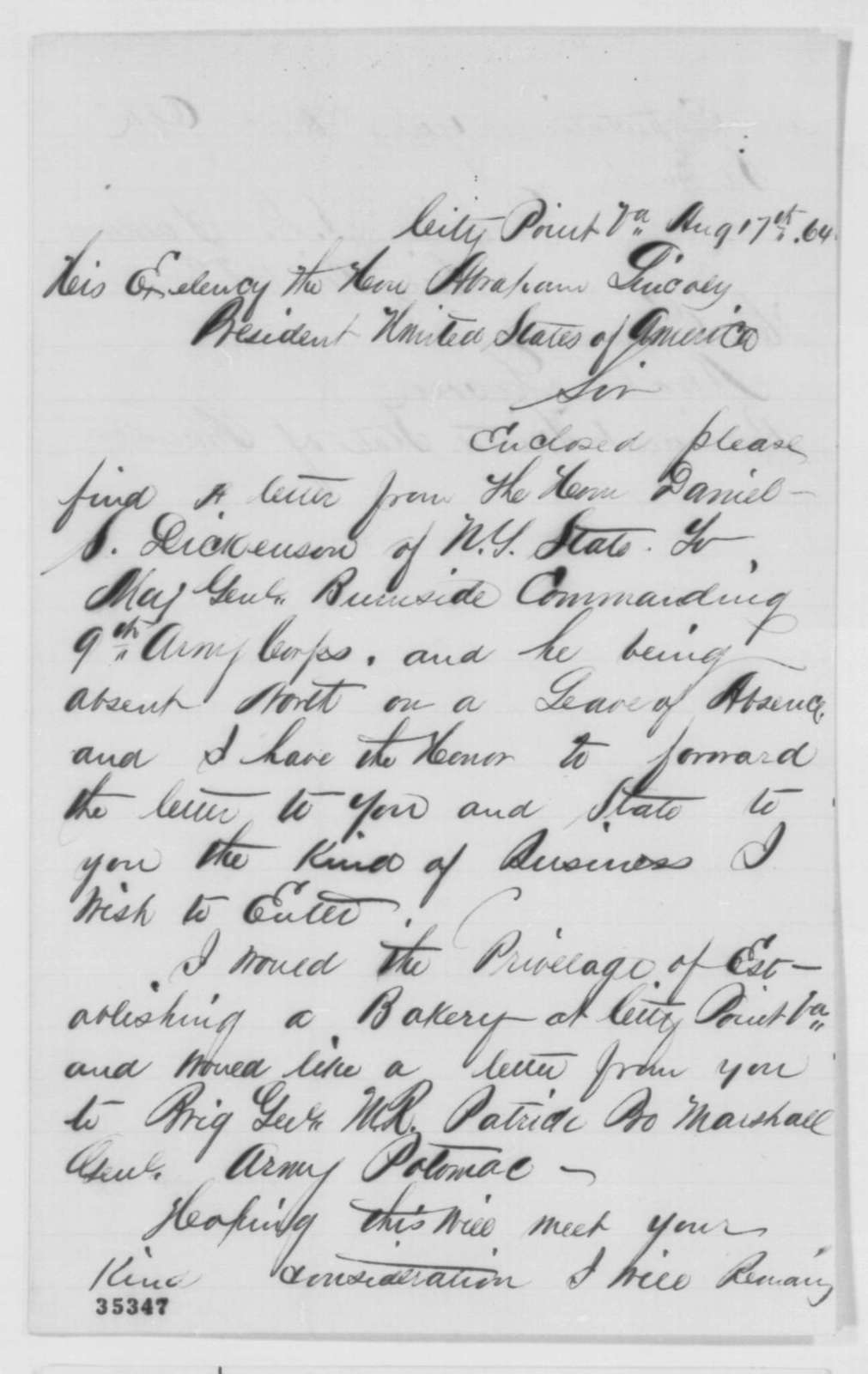 Daniel S. D. Baldwin to Abraham Lincoln, Wednesday, August 17, 1864  (Cover letter)