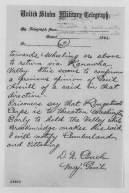 Darius N. Couch to Edwin M. Stanton, Saturday, July 30, 1864  (Telegram concerning military affairs)