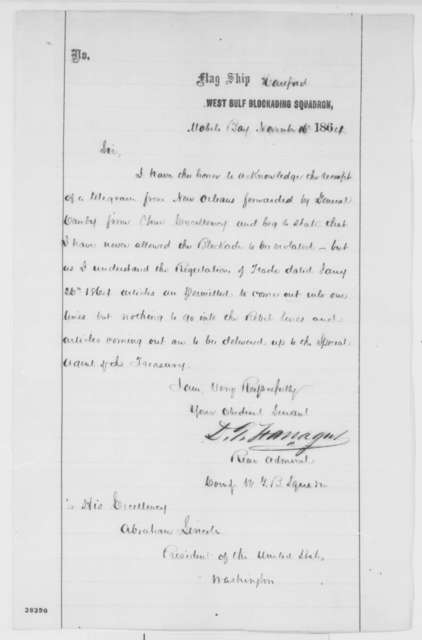 David G. Farragut to Abraham Lincoln, Wednesday, November 16, 1864  (Reply to Lincoln's November 6 dispatch)