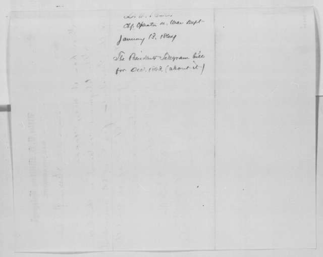 David H. Bates, Wednesday, January 13, 1864  (Bill for telegrams)