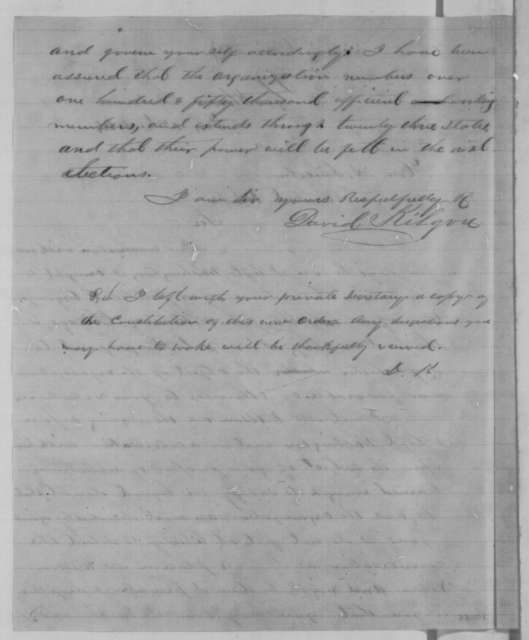 David Kilgore to Abraham Lincoln, Monday, February 01, 1864  (John Wilson is opposed to Lincoln's reelection)