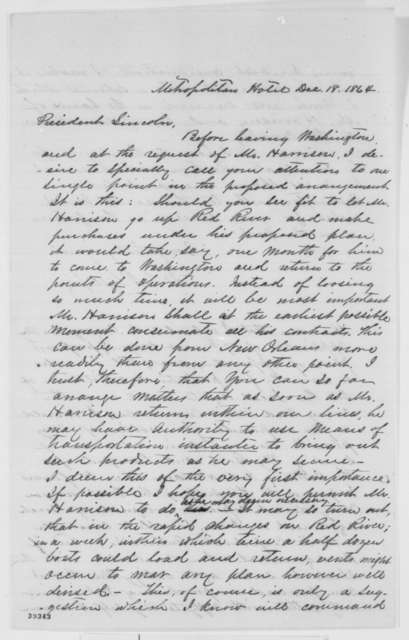 David L. Phillips and James Harrison to Abraham Lincoln, Sunday, December 18, 1864  (Plan to purchase cotton)