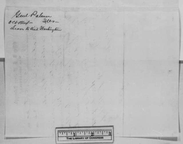 David L. Phillips to Abraham Lincoln, Thursday, October 20, 1864  (Telegram requesting permission for John M. Palmer to visit Washington)