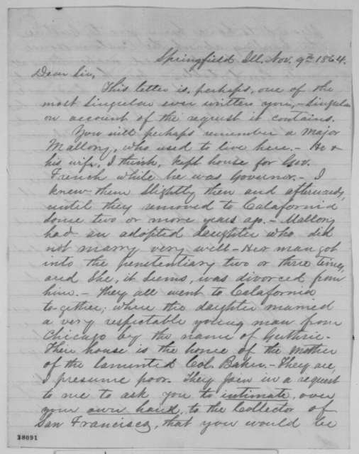 David L. Phillips to Abraham Lincoln, Wednesday, November 09, 1864  (Recommendation for Samuel Guthrie)