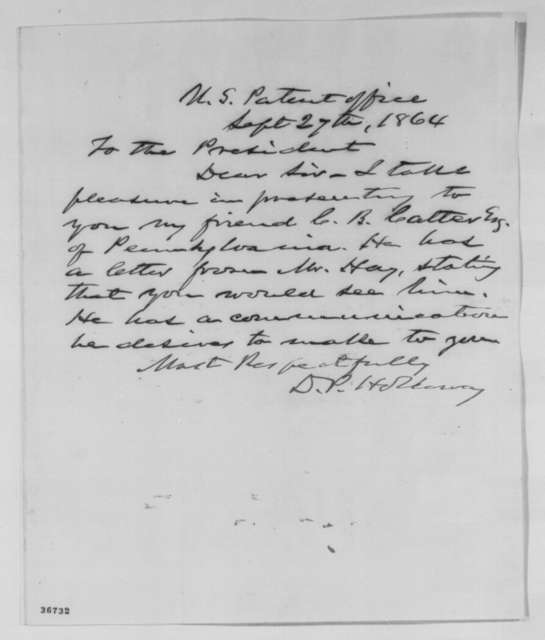 David P. Holloway to Abraham Lincoln, Tuesday, September 27, 1864  (Introduction)
