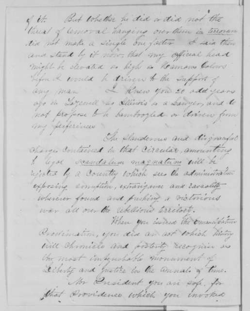 De Witt C. Chipman to Abraham Lincoln, Monday, February 29, 1864  (Pomeroy Circular)