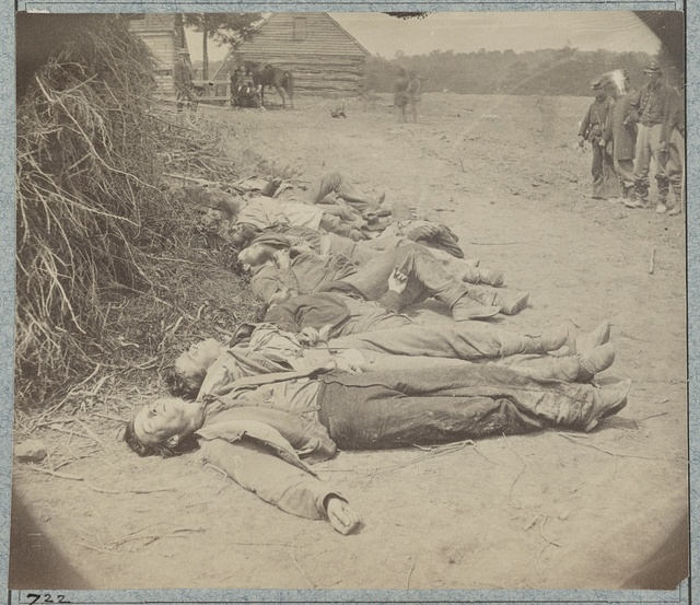 Dead Confederates collected for burial