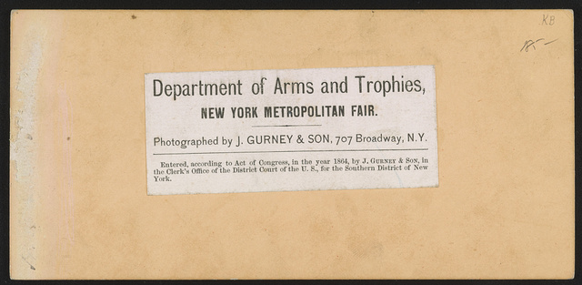 Department of arms and trophies, New York Metropolitan Fair