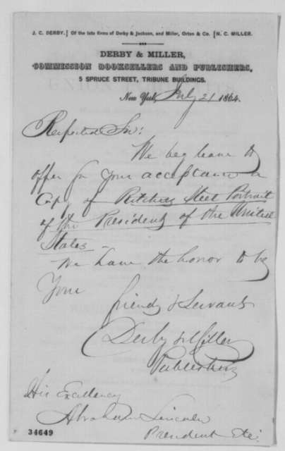 Derby & Miller to Abraham Lincoln, Thursday, July 21, 1864  (Send portraits)