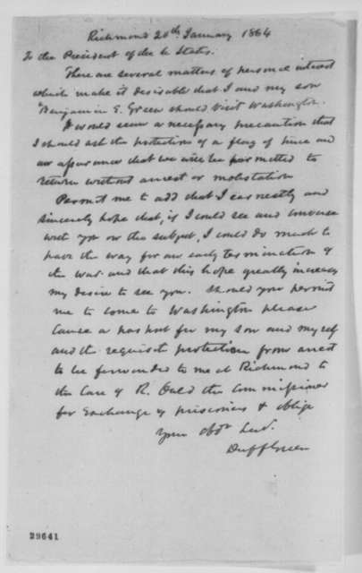 Duff Green to Abraham Lincoln, Wednesday, January 20, 1864  (Wants permission to visit Washington)