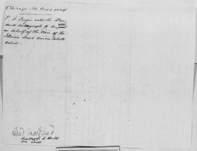E. F. Cragin to Abraham Lincoln, Monday, October 03, 1864  (Autograph request; endorsed by one of Lincoln's secretaries)