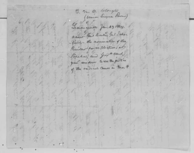 E. N. O. Clough to Abraham Lincoln, Wednesday, January 27, 1864  (Military affairs in Kansas)