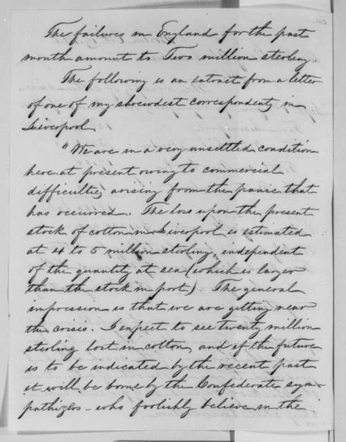 Edward Atkinson to Abraham Lincoln, Wednesday, October 19, 1864  (Cotton trade)