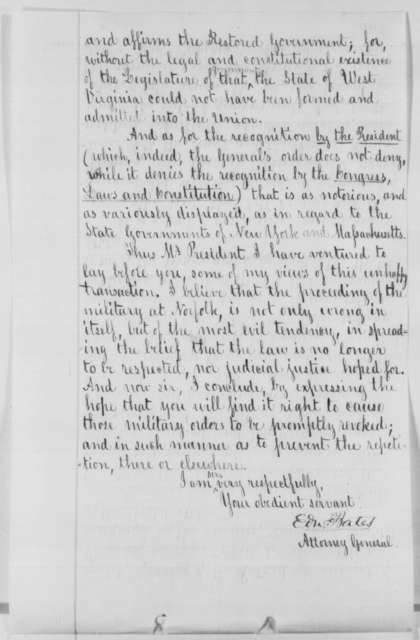 Edward Bates to Abraham Lincoln, Monday, July 11, 1864  (Opinion on military rule in Virginia)