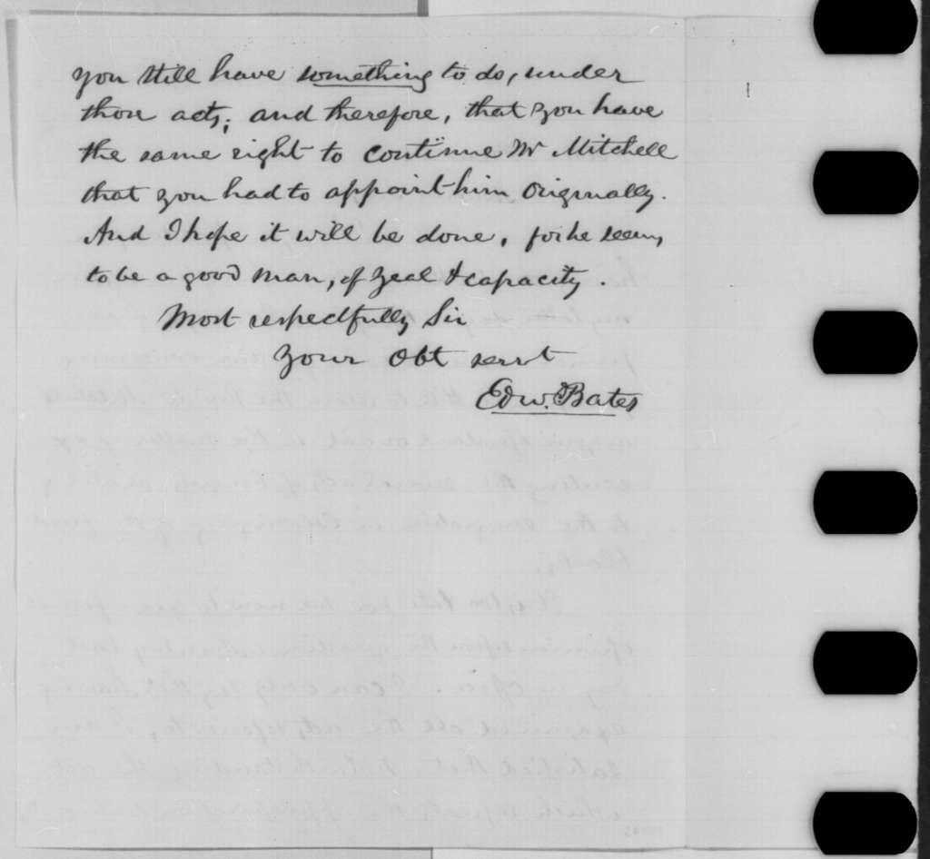 Edward Bates to Abraham Lincoln, Wednesday, November 30, 1864  (Opinion on James Mitchell)