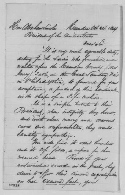 Edward Bettle to Abraham Lincoln, Monday, October 24, 1864  (Sends sofa cushion)