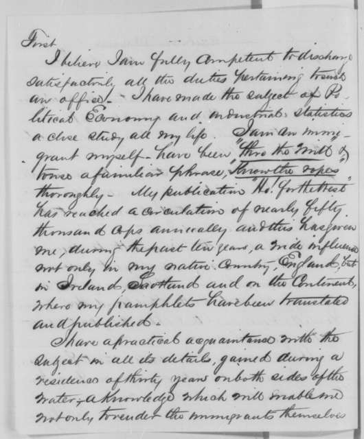 Edward H. Hall to Abraham Lincoln, Saturday, March 12, 1864  (Seeks office)