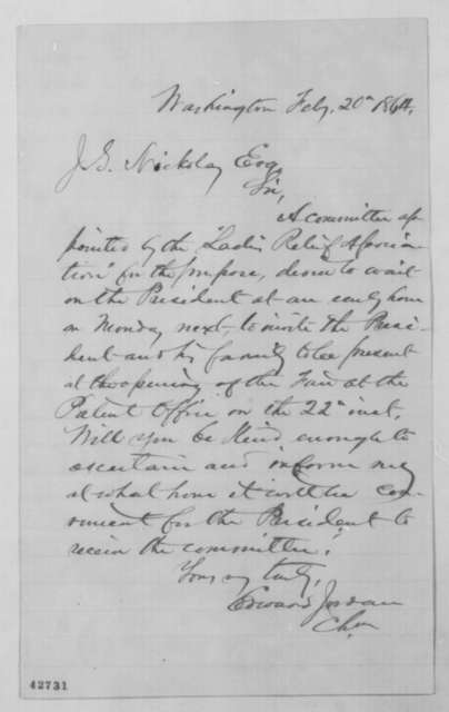 Edward Jordan to John G. Nicolay, Saturday, February 20, 1864  (Requests interview with president)