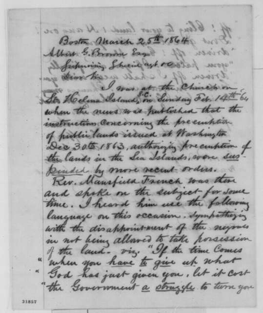 Edward S. Philbrick to Albert G. Browne, Friday, March 25, 1864  (Redistribution of land on the Sea Islands)