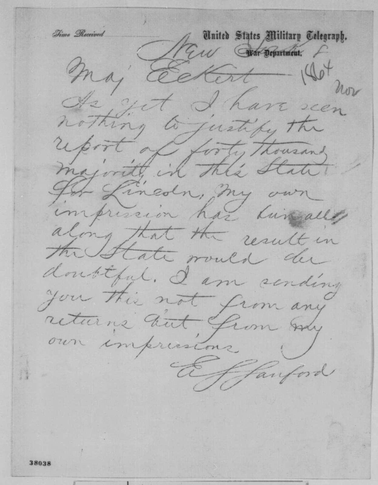 Edward S. Sanford to Thomas T. Eckert, Tuesday, November 08, 1864  (Telegram reporting New York election results)