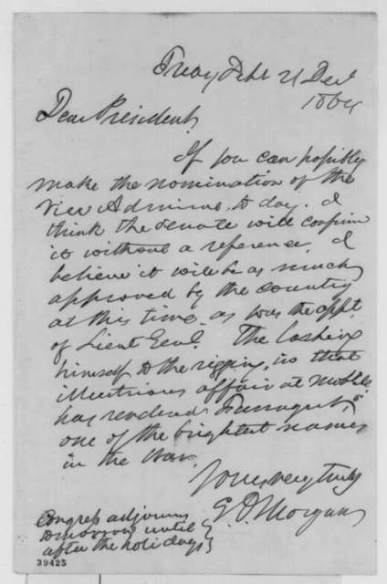 Edwin D. Morgan to Abraham Lincoln, Wednesday, December 21, 1864  (Recommendation)