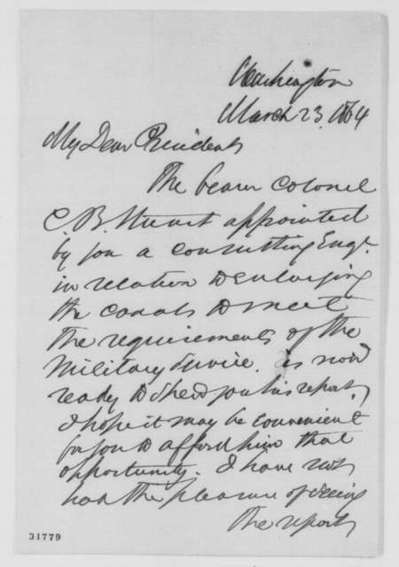 Edwin D. Morgan to Abraham Lincoln, Wednesday, March 23, 1864  (Report on canals)