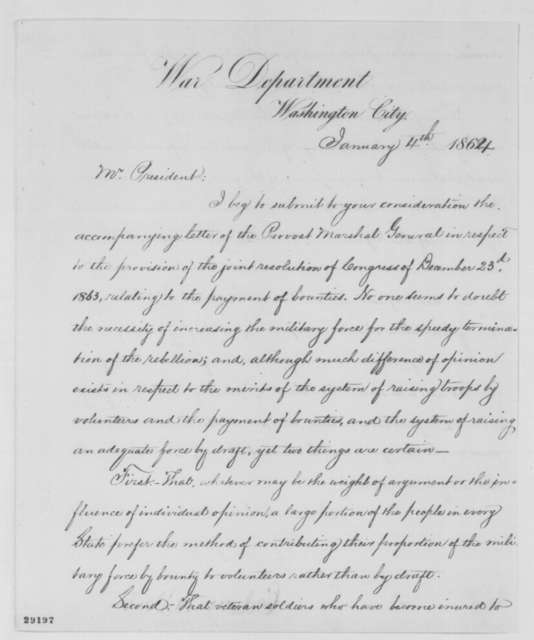 Edwin M. Stanton to Abraham Lincoln, Monday, January 04, 1864  (Payment of bounties)